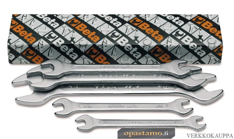 BETA 55AS/5 kiintoavainsarja pakkauksessa, sarjassa 5-avainta, koot 5/16x11/32-3/8x7/16 1/2x9/16-5/8x11/16 3/4x7/8 TUUMAKOKOISET