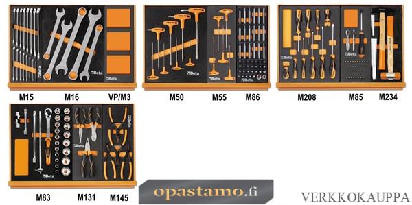 Beta TOOLS 5904VG/2M  työkalulajitelmassa 132-kpl foam paneeleissa