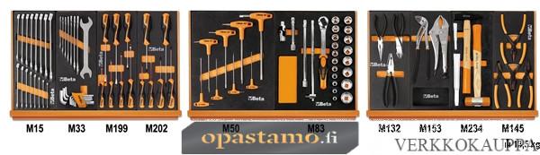 """BETA TOOLS 5904VU/1M  työkaluvalikoimassa 91 kpl yleistyökaluja foam paneelissa, 1/2"""" vääntiö"""