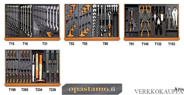 BETA TOOLS 5904VU/3T  työkalulajitelmassa 146-osaa lämpömuovatuissa paneeleissa