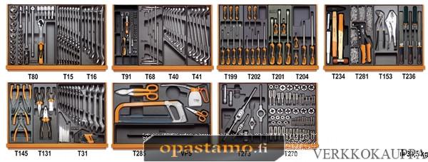 BETA TOOLS 5908VI/2T  työkalulajitelmassa 232-osaa lämpömuovatuissa paneeleissa, kierteitystyökalut