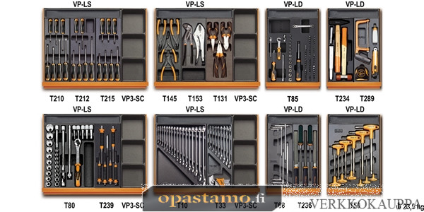 BETA TOOLS 5938U/2T  työkalulajitelmassa 210-osaa lämpömuovatuissa paneeleissa