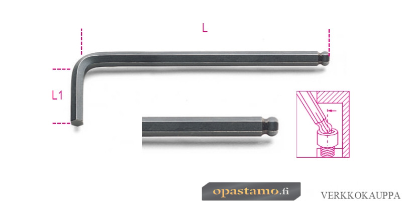BETA  96BP-AS 3/16 kuusiokoloavain, pallopää, musta