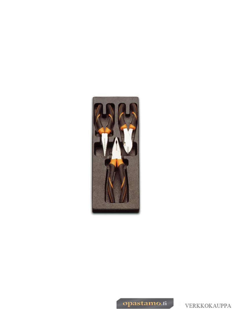 BETA TOOLS T131 yhdistelmäpihdit kaksikomponenttikahvoilla 3 kpl lämpömuovatussa paneelissa