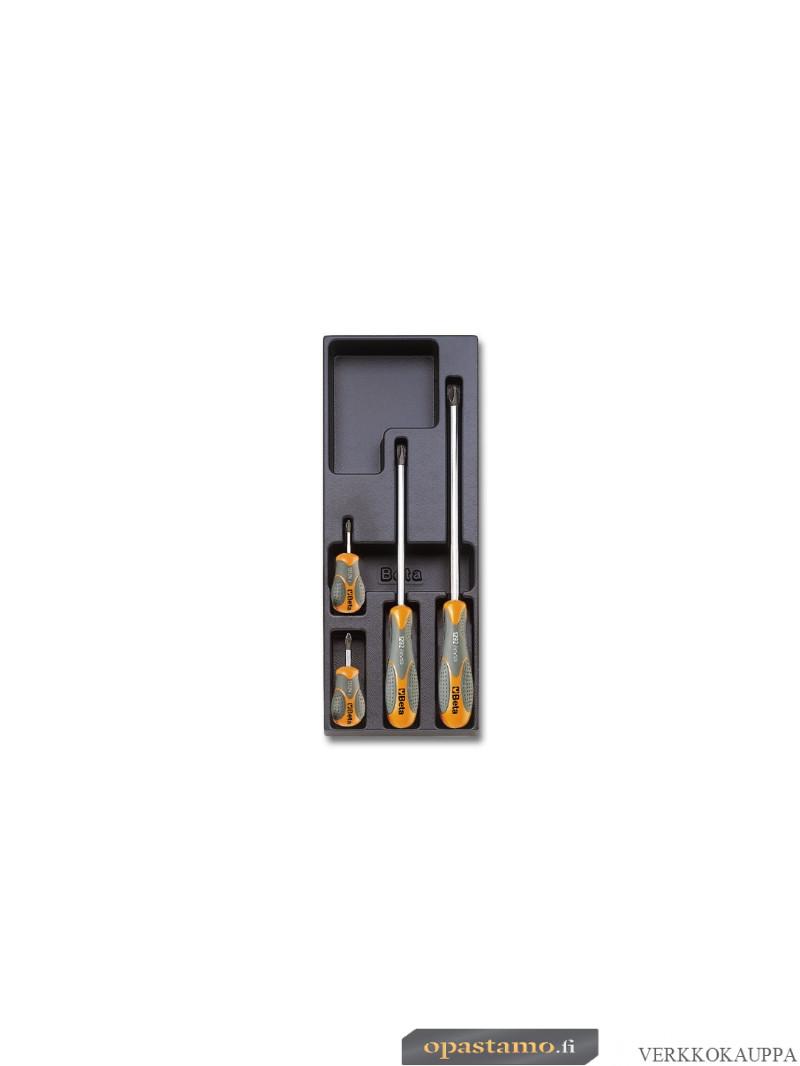 BETA TOOLS T173 ruuvitalttasarja BetaMax ristiuraruuveille Phillips®, 4-osaa lämpömuovatussa paneelissa