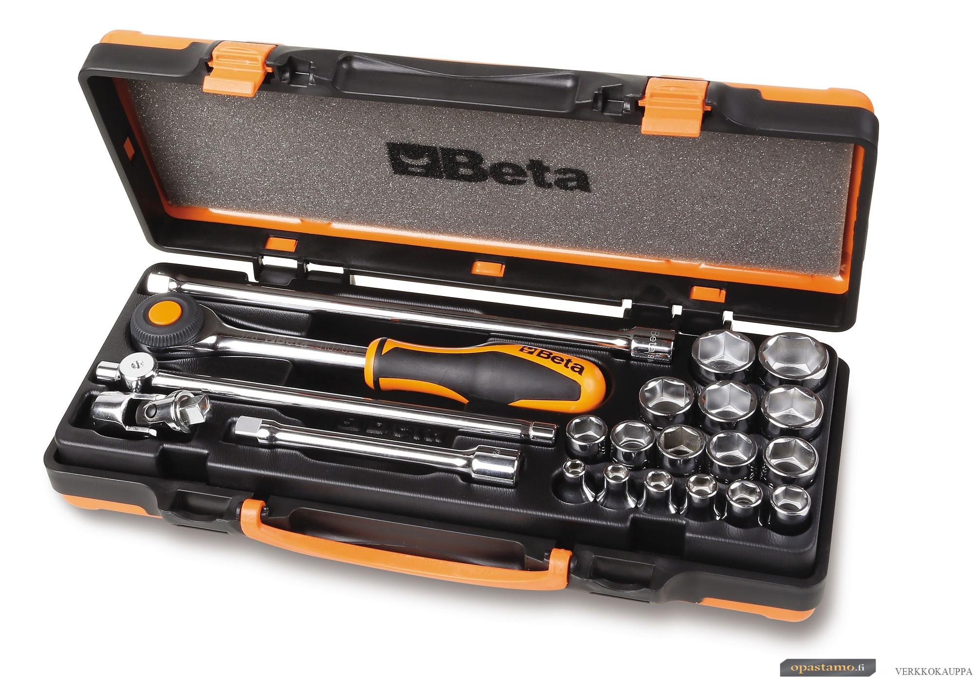 """BETA 910A/C16HR Hylsysarjassa 16 hylsyä ja 5 tarviketta, vääntiö 3/8"""" kuusikulmaiset hylsyt 6 - 7 - 8 - 9 - 10 - 11 - 12 - 13 14 - 15 - 16 - 17 - 18 - 19 21 - 22 mm"""