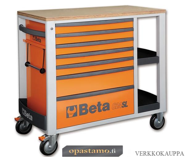 BETA TOOLS C24SL-O  liikuteltava työkaluvaunu 7:llä laatikolla ja sivutasoilla