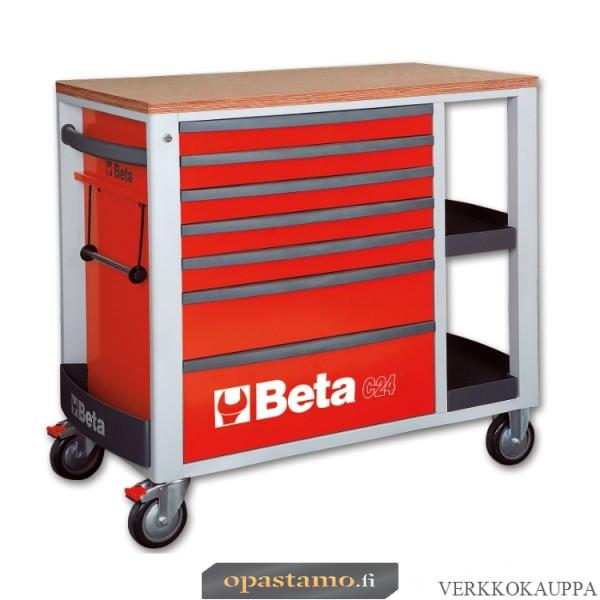 BETA TOOLS C24SL-R  liikuteltava työkaluvaunu 7:llä laatikolla ja sivutasoilla