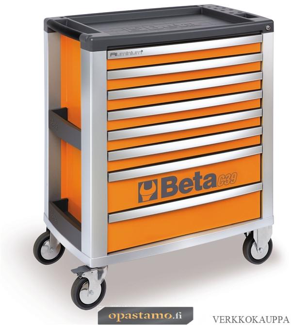 BETA C39-8/O liikuteltava työkaluvaunu 8:lla laatikolla, oranssi