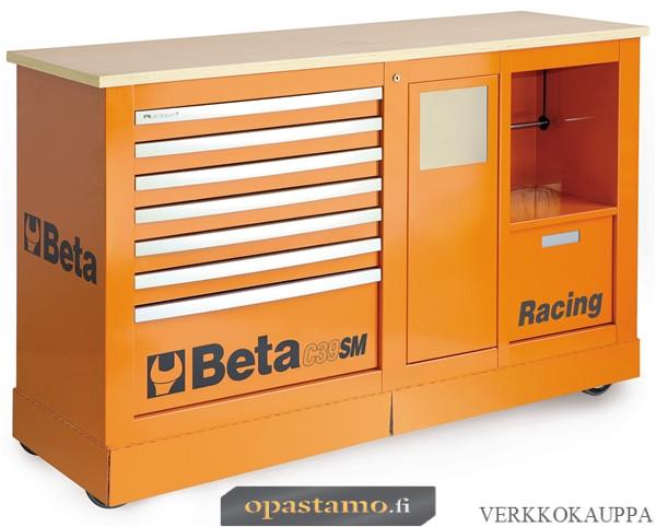 BETA C39SM-O liikuteltava työkaluvaunu paperirullatelineellä ja roskakorilla