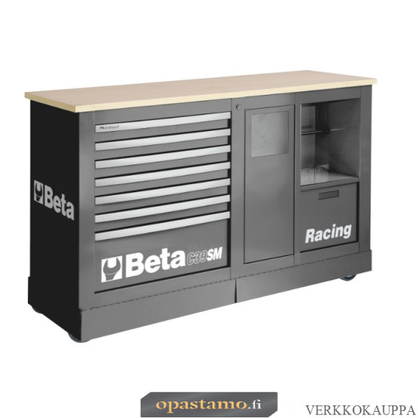 BETA C39SM-G liikuteltava työkaluvaunu paperirullatelineellä ja roskakorilla, harmaa