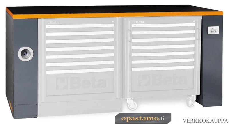 BETA TOOLS C55PRO BO/2 työtaso jaloilla paineilmaletkun kelauksella ja pistorasialla, leveys 2050, oranssi reunalista