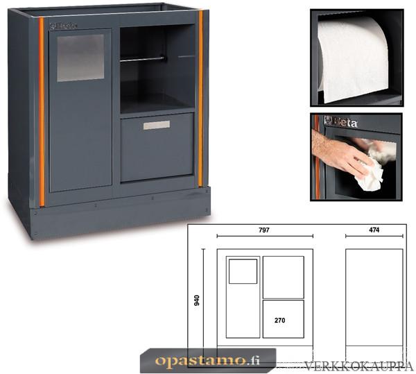 BETA TOOLS C55MS  työtason alle kiinteästi sijoitettava huoltoelementti paperipyyhetelineellä ja roskakorilla C55-sarjan kalusteyhdistelmiin