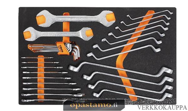 BETA TOOLS M30  kaksois kiintoavaimet ja silmukka-avaimet 31 kpl foam paneelissa