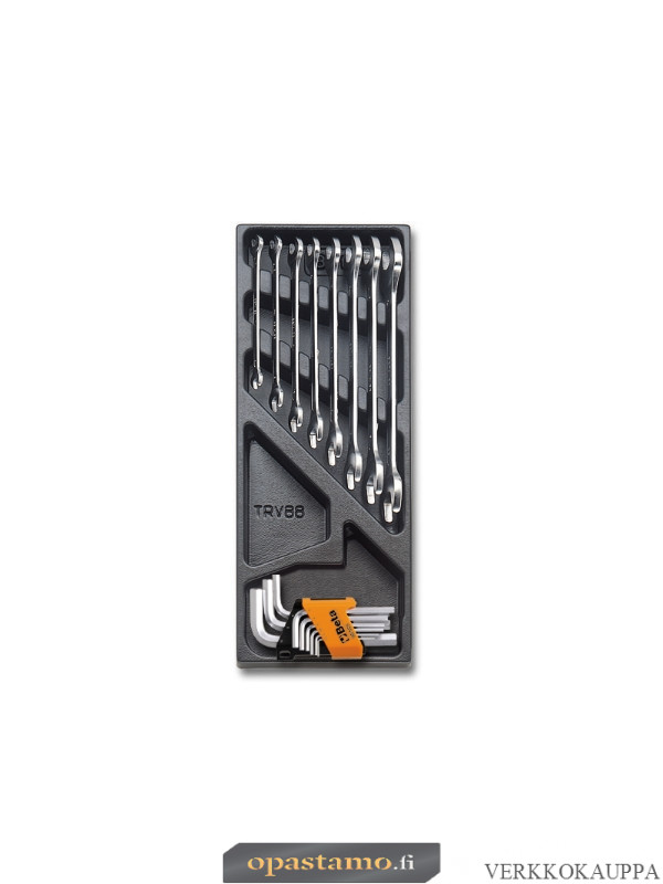 BETA T33 sarjassa kaksoiskiintoavaimet 6x7-8x9-10x11 12x13-14x15 16x17-18x19 20x22mm ja kuusiokoloavaimet pitimessä 1,5-2-2,5-3-4 5-6-8-10mm, kirkkaat, lämpömuovatussa paneelissa, 17-osaa
