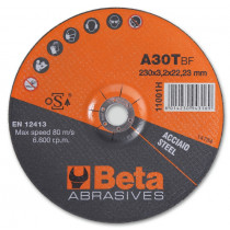 BETA 11001H 230X3,2 Abrasive steel cutting discs with depressed centre