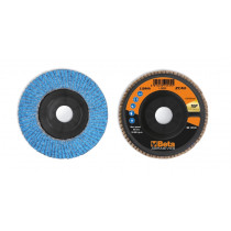 BETA 11240A 40 Flap discs with ceramic-coated zirconia abrasive cloth, plastic backing pad and single flap construction