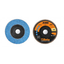 BETA 11240B 40 Flap discs with ceramic-coated zirconia abrasive cloth, plastic backing pad and single flap construction
