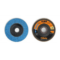BETA 11242A 40 Flap discs with ceramic-coated zirconia abrasive cloth, fibreglass backing pad and single flap construction