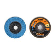 BETA 11242B 40 Flap discs with ceramic-coated zirconia abrasive cloth, fibreglass backing pad and single flap construction