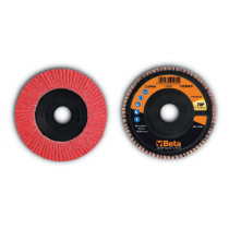 BETA 11246A 40 Flap discs with ceramic-coated abrasive cloth, plastic backing pad and single flap construction
