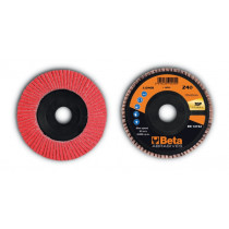 BETA 11246B 40 Flap discs with ceramic-coated abrasive cloth, plastic backing pad and single flap construction