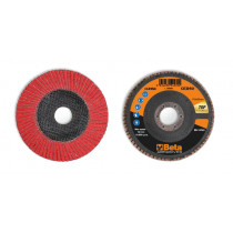 BETA 11248A 40 Flap discs with ceramic-coated abrasive cloth, fibreglass backing pad and single flap construction