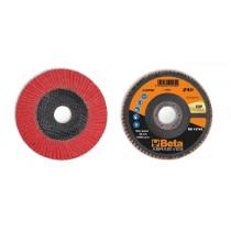 BETA 11248B 40 Flap discs with ceramic-coated abrasive cloth, fibreglass backing pad and single flap construction