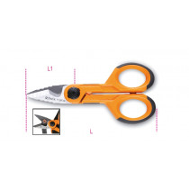 BETA 1128FXS Electrician's scissors with graduated milling profiles, straight stainless steel blades, with microteeth, cable cutting groove and crimping pliers for tube terminals.