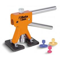 BETA 1366A pellin oikaisusarja pieniin painaumiin. Mukana työkalu ja 19 liimattavaa nappulaa, käytetään erikseen hankittavan kuumailmapistooli ja liimapatruunoiden kanssa