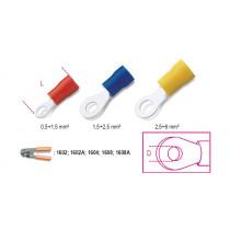 BETA BM00119 Rengasliitin , eristetty, puristettava, reikä 4mm, kaapeleille mm² 0,5-1,5. pakkauksessa 100 kpl