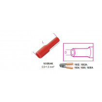 BETA BM00140 Pyöröliitin naaras, eristetty, puristettava, reikä 4mm, kaapeleille mm² 0,5-1,5. pakkauksessa 100 kpl