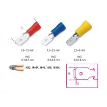BETA BM00180 lattaliitin uros, eristetty, puristettava, latta 6,3x0,8mm, kaapeleille mm² 0,5-1,5. pakkauksessa 100 kpl