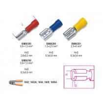 BETA BM00190 lattaliitin naaras, eristetty, puristettava, latalle 6,3x0,8mm, kaapeleille mm² 0,5-1,5. pakkauskoko 100 kpl