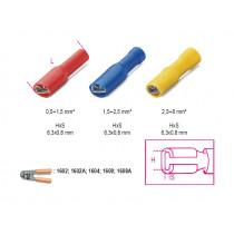 BETA BM00191 lattaliitin naaras, täysin eristetty, puristettava, latalle 6,3x0,8mm, kaapeleille mm² 0,5-2,5. pakkauskoko 100 kpl