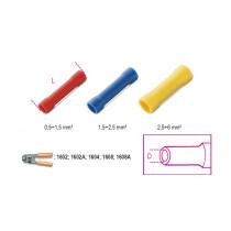 BETA BM00160 jatkoliitin, eristetty, puristettava, reikä 1,6mm, kaapeleille mm² 0,5-1,5. pakkauksessa 100 kpl