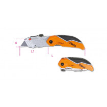 BETA 1777BMT taitettava veitsi, jossa 4 valittavaa teräsyvyyttä. Puolisuunnikkaan muotoinen ruostumattomasta teräksestä valmistettu terä, 3 terää
