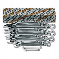 BETA 42MP/S17 kiillotetut yhdistelmäavaimet pakkauksessa, sarjassa 17-avainta, koot 6-7-8-9-10-11-12-13 14-15-16-17-18 19-20-21-22 mm