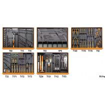 BETA TOOLS 5904VG/5T työkalulajitelmassa 153-osaa lämpömuovatuissa paneeleissa
