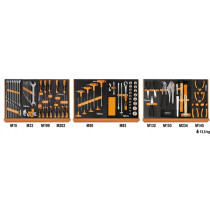 """Beta 5904VU/1M työkaluvalikoimassa 91 kpl yleistyökaluja foam paneelissa, 1/2"""" vääntiö"""
