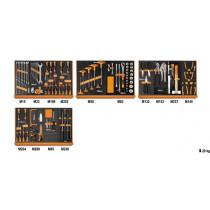 """BETA TOOLS 5904VU/2M  työkaluvalikoimassa 151 kpl yleistyökaluja foam paneelissa, 1/2"""" vääntiö"""