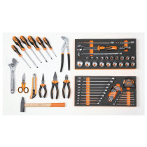 BETA 5941 VU-M Assortment of 64 tools for trolley C41, in soft foam trays