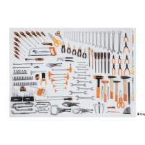 """BETA 5957VI Työkalulajitelma 162-osaa teollisuus työkaluja. Hylsyavainsarja koot 10-32 vääntiö 1/2"""" ja kiintolenkit koot 6-30 mm. Pihdit, avaimet, meisselit, putkihylsyt ja lyöntityökalut"""