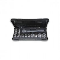 """Beta tools  920INOX/C16 ruostumattomasta teräksestä valmistetussa sarjassa räikkäväännin ja 15 hylsyä lämpömuovatussa salkussa, 1/2"""" RST"""