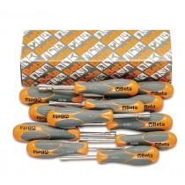 Beta 943BX/S12 kuusikulmaiset hylsytalttameisselit (TUOTE  943BX) sarja pakkauksessa, pitkät, 6-avainta