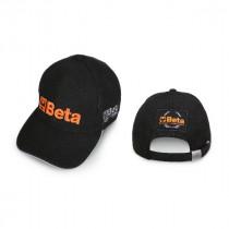 Beta 9525BB Lippis, 100% puuvillaa, säädettävä hihna soljella, logo edessä ja takana, musta