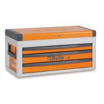 BETA C22S-O siirreltävä työkaluarkku avattavalla kannella ja 3:lla laatikolla, oranssi