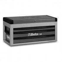 BETA C22S-G siirreltävä työkaluarkku avattavalla kannella ja 3:lla laatikolla, harmaa