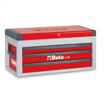 BETA C22S-R siirreltävä työkaluarkku avattavalla kannella ja 3:lla laatikolla, punainen