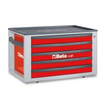 BETA C23ST-R siirreltävä työkalulaatikosto 5:llä laatikolla, voidaan asentaa vaunujen C24S päälle
